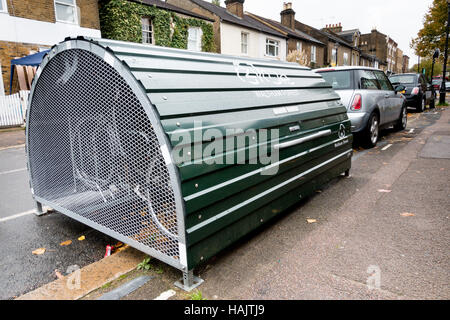 A bike hangar, on street secure storage rental scheme for bicycles in Waltham Forest, London - Stock Photo