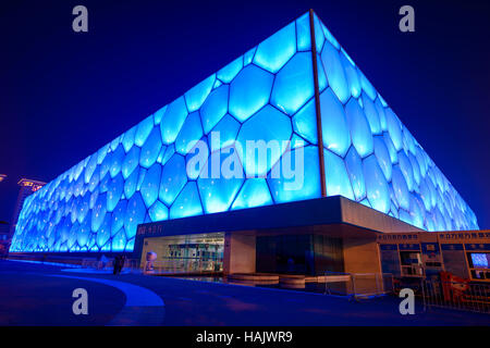 Water Cube - A wide-angle night view of Beijing National Aquatics Center, also known as Water Cube, at Olympic Park, - Stock Photo