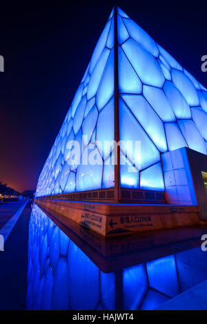 Water Cube - A vertical wide-angle night view of Beijing National Aquatics Center, also known as Water Cube, at - Stock Photo