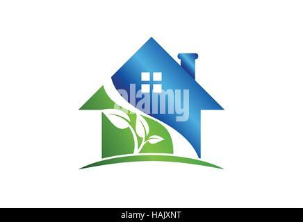 house logo, real estate building symbol icon, architecture nature home sign vector design - Stock Photo