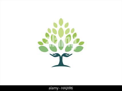 tree hand natural logo, hand tree logo symbol, wellness yoga health icon vector design - Stock Photo