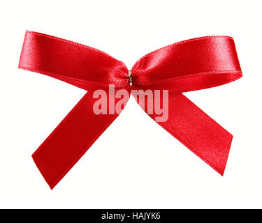 red satin ribbon gift bow isolated on white - Stock Photo