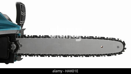 blade of a chainsaw isolated on white background - Stock Photo