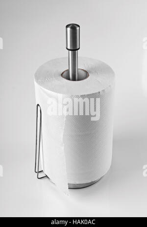 kitchen paper towels on holder - Stock Photo