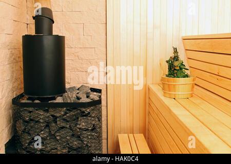 sauna interior with accessories - Stock Photo