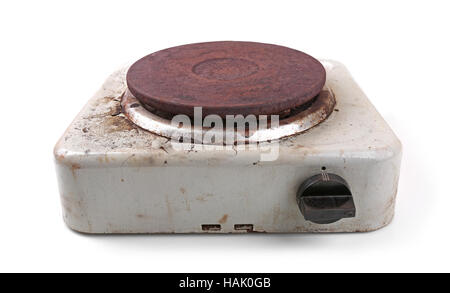 old dirty electric stove isolated on white - Stock Photo