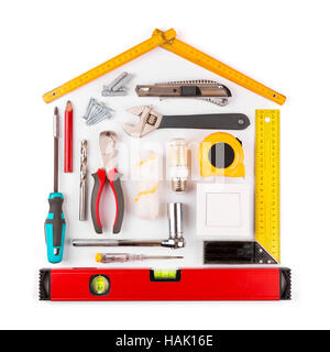 ... DIY   Home Renovation And Improvement Tools On White   Stock Photo