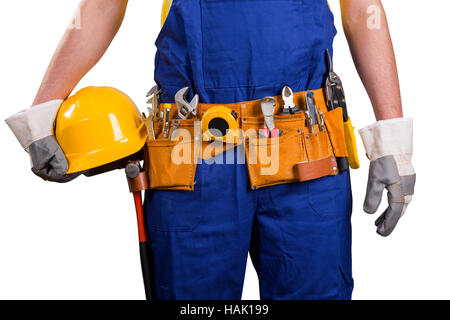 construction tool belt. construction worker with tool belt isolated on white - stock photo