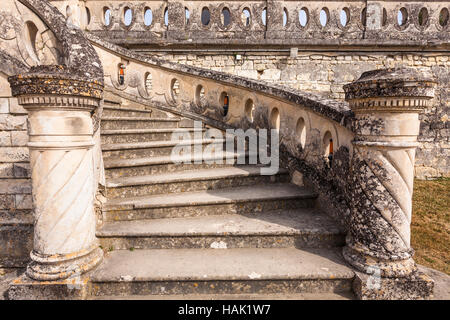 A stone staircase leading up to the chateau of Valencay in the Loire Valley, France. - Stock Photo