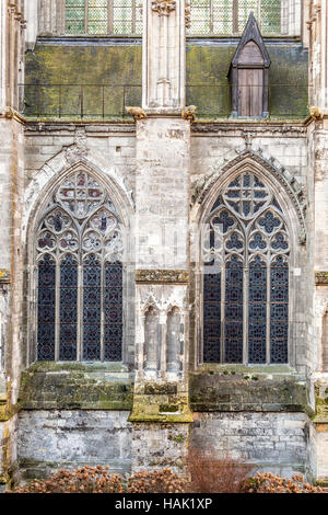 A close-up of the side of St Gatien cathedral in Tours, France. Once inside, visitors can be fully mesmerized by - Stock Photo