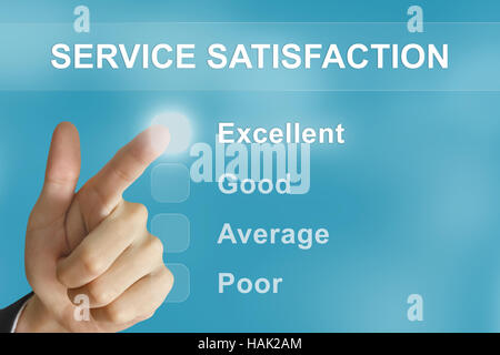 business hand clicking service satisfaction button on screen - Stock Photo