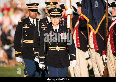 Offers on parade as part of the US Army's Twilight Tattoo in Arlington, VA. - Stock Photo