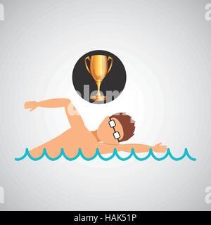 swimming man trophy sport design vector illustration eps 10 - Stock Photo
