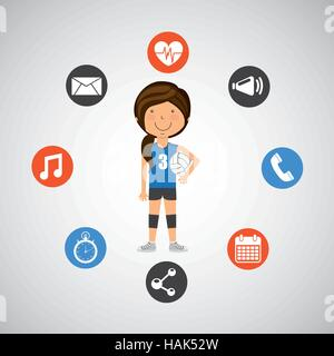 sport girl volleyball player graphic vector illustration eps 10 - Stock Photo
