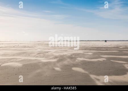 Tideland, mudflats, Wadden sea, German North sea coast, island Spiekeroog, UNESCO world nature heritage area, beach - Stock Photo