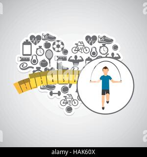 heart weight loss sport male jumping rope vector illustration eps 10 - Stock Photo