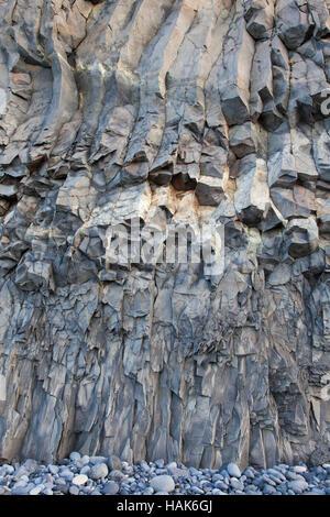 Hexagonal basalt columns, volcanic rock formations near the village Vík í Mýrdal, southern Iceland