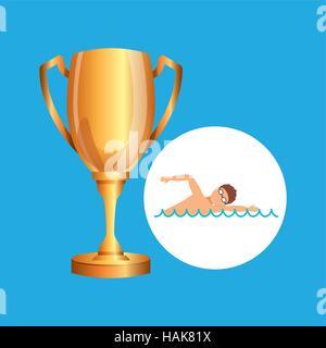 swimming man trophy sport design - Stock Photo