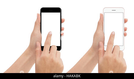 hand touch phone isolated with clipping path on white background, mock-up smart phone blank screen - Stock Photo