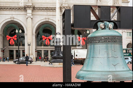 Washington, DC - The Freedom Bell, a replica of the Liberty Bell, in front of Union Station. The bell was donated - Stock Photo