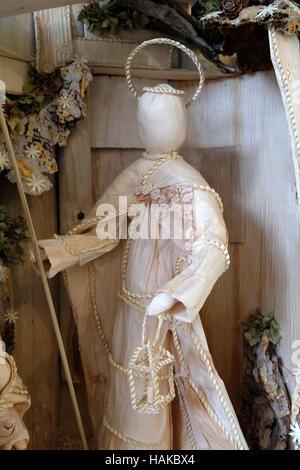 Saint Joseph, Nativity scene work of Samuela Premuzic, exhibition of mangers in the gallery Vijenac in Zagreb, Croatia - Stock Photo