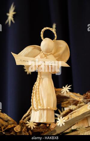 Christmas angel, Nativity scene work of Samuela Premuzic, exhibition of mangers in the gallery Vijenac in Zagreb, - Stock Photo