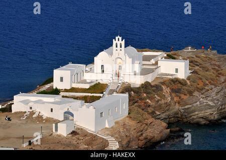 Chrisopigi monastery in Sifnos island, Greece - Stock Photo