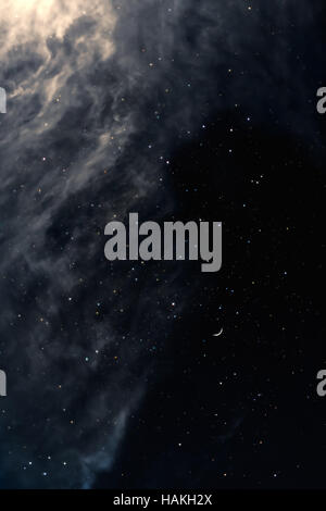 Melancholy night sky with stars and moon - Stock Photo