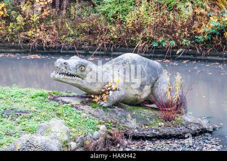 Crystal Palace dinosaurs - the Labyrinthodon. - Stock Photo