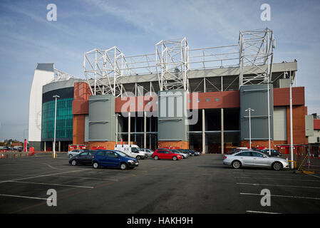 Manchester United Sir warning notice   MUFC stadium Old Trafford football club health safety notice bring in can't - Stock Photo