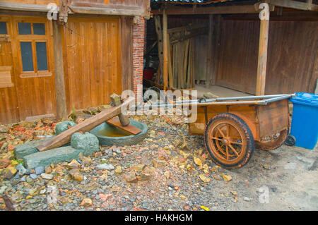 The Huanggang Dong Village in Guizhou Province of China is an interesting cultural destination. Working trailer - Stock Photo