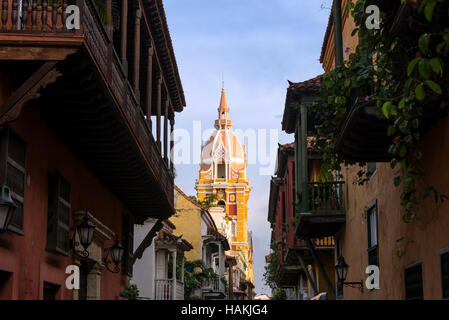 Historic architecture in the colonial city center in Cartagena, Colombia - Stock Photo
