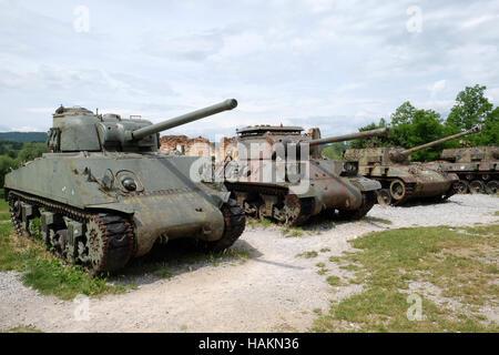 Military tanks Open air museum of the Croatian War of Independence, 1991 - 1995, Turanj, Croatia - Stock Photo