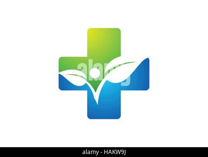 medicine health icon logo, cross plant logo icon, plus nature symbol icon, people health concept vector design - Stock Photo