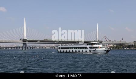 Golden Horn Metro Bridge in Istanbul City, Turkey - Stock Photo
