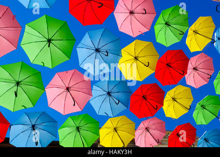 Colorful umbrellas set as decoration on Yoel Moshe Solomon Street, Jerusalem, Israel Stock Photo