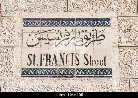 Street sign - St. Francis - in the old city of Jerusalem, Israel - Stock Photo
