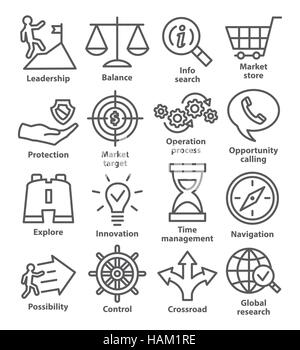 Business management icons in line style on white. Pack 13. - Stock Photo