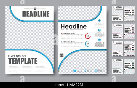 Template Color Flyers A4 Design 2 Pages Booklet With Circles For A