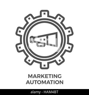 Marketing Automation Thin Line Vector Icon Isolated on the White Background. - Stock Photo