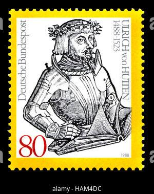 German postage stamp (1988) : Ulrich von Hutten (1488 – 1523) German scholar, poet, satirist, reformer. and outspoken - Stock Photo