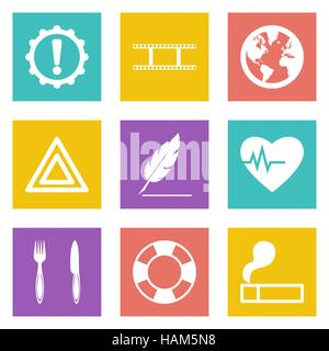 Icons for Web Design and Mobile Applications set 9. Vector illustration. - Stock Photo