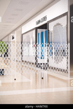 3d illustration of sliding folding screens in the shopping mall - Stock Photo