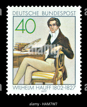 German postage stamp (1977) : Wilhelm Hauff (1802 – 1827) German poet and novelist. - Stock Photo