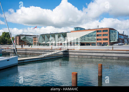 The Culture Yard, a modern cultural center with library, designed by AART architects in Elsinore, Hovedstaden Region, - Stock Photo