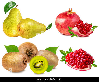 Collection of fruits isolated on white background - Stock Photo