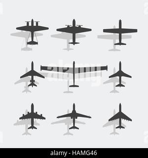 Black paper paper passenger planes and war fighters icon set. - Stock Photo
