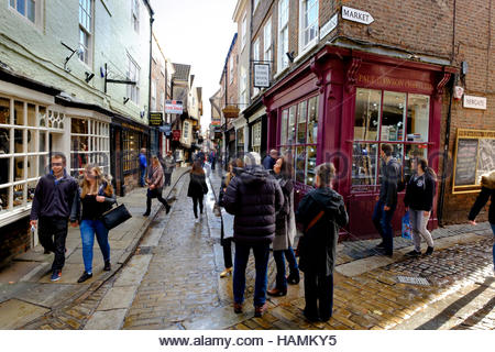 The junction of the Shambles and Newgate York North Yorkshire England UK - Stock Photo