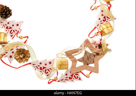 Christmas frame of wooden toy fir trees and stars with place for text - Stock Photo