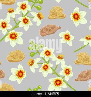 Frankincense seamless pattern. Boswellia tree flowers. - Stock Photo